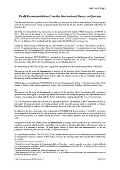IWC/2012/IGQ03 Draft Recommendations from the Intersessional Group on Quorum (Secretariat)
