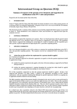 IWC/2012/IGQ02 Summary of responses to the quorum review document, and suggestions for clarifications to the IWC's rules and procedures (Secretariat)