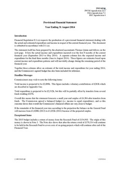 IWC/65/06 Provisional Financial Statement Year Ending 31 August 2014