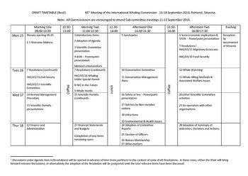 Draft Timetable for IWC65 - Rev 2
