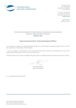 IWC.ALL.222 | Vacancy Announcement: Project Development Officer