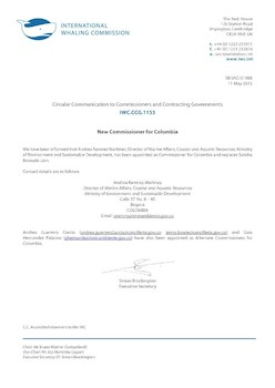 IWC.CCG.1153   New Commissioner for Colombia