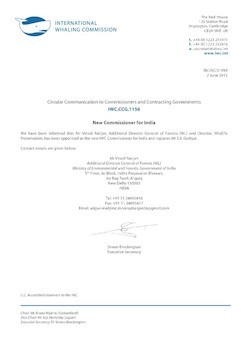 IWC.CCG.1156   New Commissioner for India