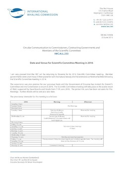 IWC.ALL.233 | Date and Venue for Scientific Committee Meeting in 2016