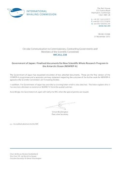 IWC.ALL.238 | Govenment of Japan:  Finalised documents for New Scientific Whale Research Program in the Antarctic Ocean (NEWREP-A)