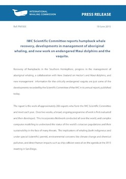 IWC Press Release: IWC Scientific Committee reports humpback whale recovery, developments in management of aboriginal whaling, and new work on endangered Maui dolphins and the vaquita