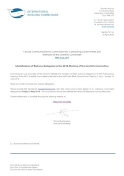 IWC.ALL.251 | Identification of National Delegates to the 2016 Meeting of the Scientific Committee