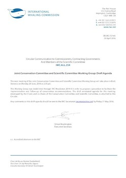 IWC.ALL.254 | Joint Conservation Committee and Scientific Committee Working Group:  Draft Agenda
