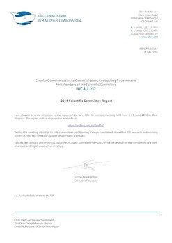 IWC.ALL.257 | 2016 Scientific Committee Report