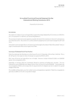 IWC/66/06 - Provisional Financial Statement for 2016