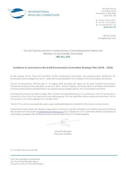 IWC.ALL.262 | Invitation to comment on the draft Conservation Committee Strategic Plan (2016-2026)