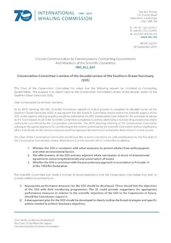 IWC.ALL.267 | Conservation Committees review of the decadal review of the Southern Ocean Sanctuary (SOS)