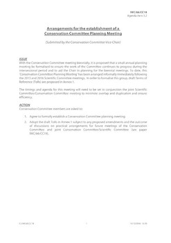 IWC/66/CC18 - Arrangements for the establishment of a Conservation Committee Planning Meeting