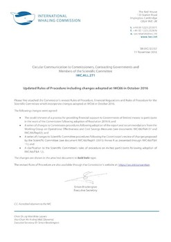 IWC.ALL.271 | Updated Rules of Procedure including changes adopted at IWC66 in October 2016
