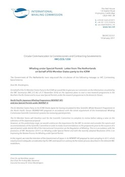 IWC.CCG.1250 | Whaling under Special Permit:  Letter from The Netherlands on behalf of EU Member States party to the ICRW