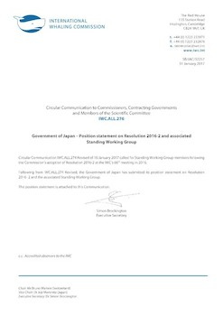 IWC.ALL.276 | Government of Japan - Position Statement on Resolution 2016-2 and associated Standing Working Group