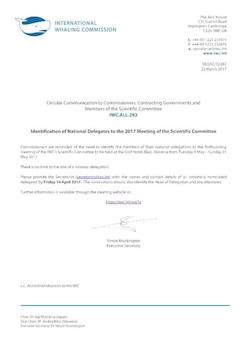 IWC.ALL.282 | Identification of National Delegates to the 2017 Meeting of the Scientific Committee