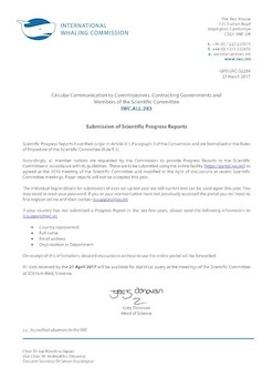 IWC.ALL.283 | Submission of Scientific Progress Reports