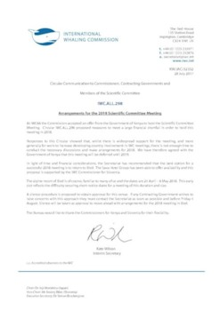 IWC.ALL.298 | Arrangements for the 2018 Scientific Committee Meeting