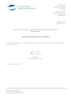 IWC.CCG.1273 | Reinstatement of Right to Vote - Argentina