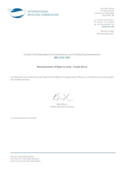 IWC.CCG.1287 | Reinstatement of Right to Vote - South Africa