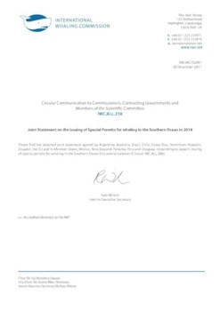 IWC.ALL.310 | Joint Statement on the issuing of Special Permits for whaling in the Southern Ocean in 2018