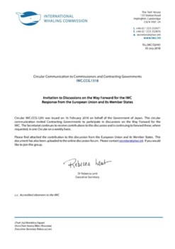 IWC.CCG.1318 | Invitation to Discussions on the Way Forward for the IWC - Response from the European Union and its Member States