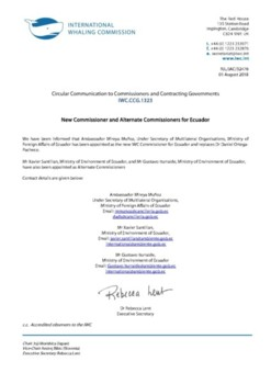 IWC.CCG.1323 | New Commissioner and Alternate Commissioners for Ecuador