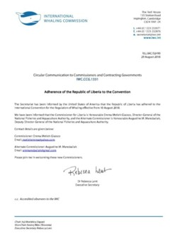 IWC.CCG.1331 | Adherence of the Republic of Liberia to the Convention