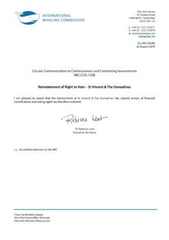 IWC.CCG.1328 | Reinstatement of Right to Vote - St. Vincent & The Grenadines