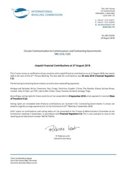 IWC.CCG.1333 | Unpaid Financial Contributions at 27 August 2018