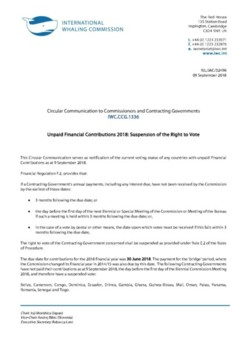 IWC.CCG.1336 | Unpaid Financial Contributions 2018:  Suspension of the Right to Vote