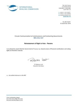 IWC.CCG.1337 | Reinstatement of Right to Vote - Panama