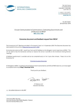 IWC.CCG.1340 | Outcomes document and feedback request from IWC67