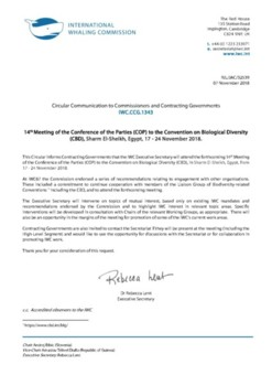 IWC.CCG.1343 | 14th Meeting of the Conference of the Parties (COP) to the Convention on Biological Diversity (CBD), Sharm-El-Sheikh, Egypt, 17-24 November 2018
