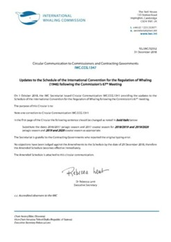 IWC.CCG.1347 | Updates to the Schedule of the International Convention for the Regulation of Whaling (1946) following the Commissions 67th Meeting