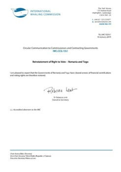 IWC.CCG.1351 | Reinstatement of Right to Vote - Romania and Togo
