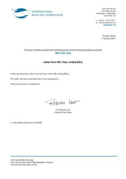 IWC.CCG.1352 | Letter from IWC Chair, Andrej Bibiç
