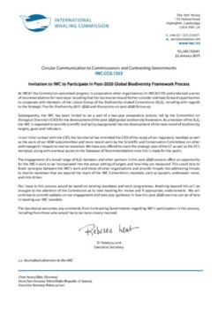 IWC.CCG.1353 | Invitation to IWC to participate in Post-2020 Global Biodiversity Framework Process