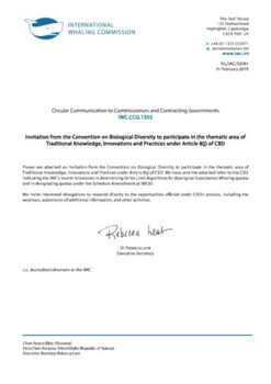 IWC.CCG.1355 | Invitation from the Convention on Biological Diversity to participate in the thematic area of Traditional Knowledge, Innovations and Practices under Article 8(j) of CBD